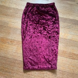 Boohoo velvet high waist pencil skirt